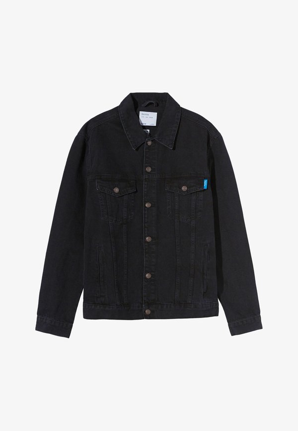Bershka Kurtka jeansowa - black/czarny Odzież Męska ZETB