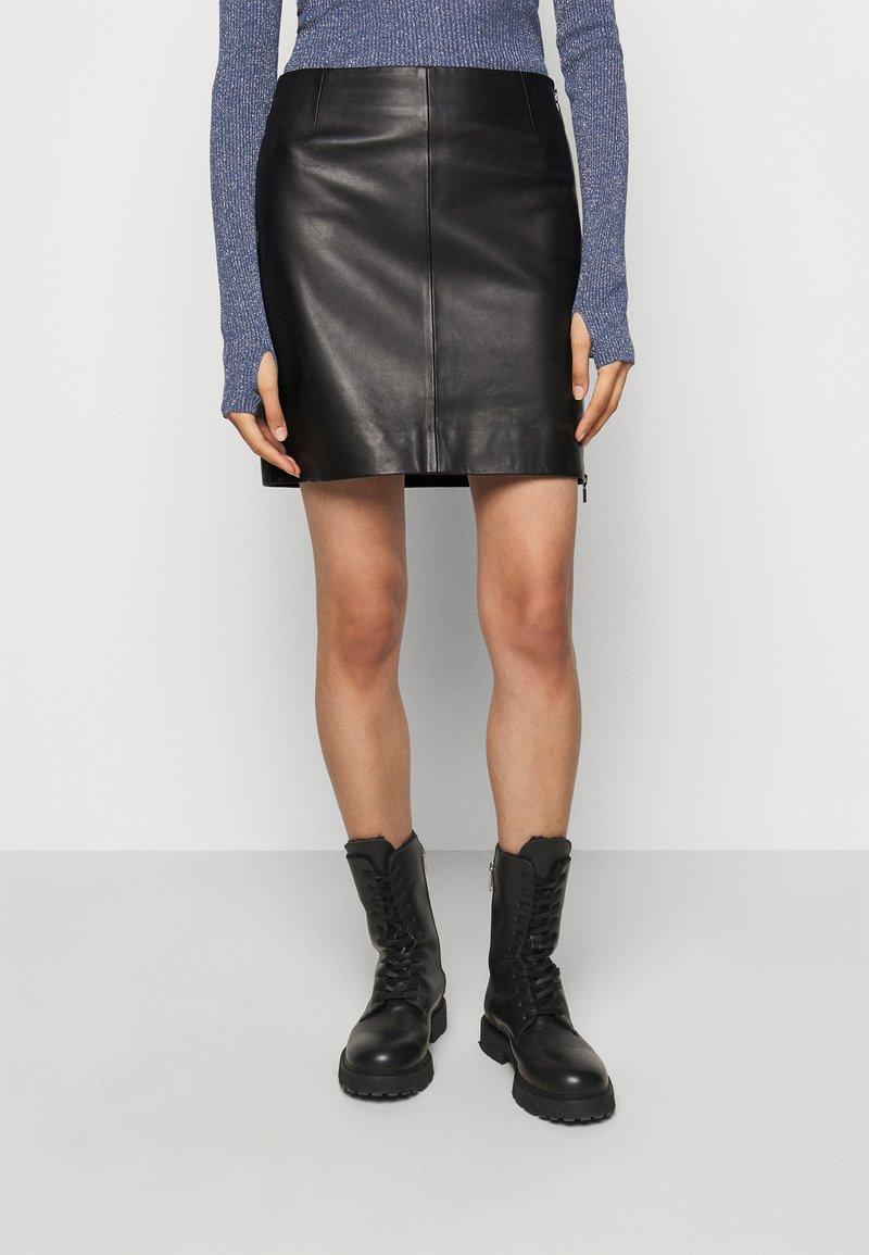 HUGO - LOMIAS - Mini skirt - black