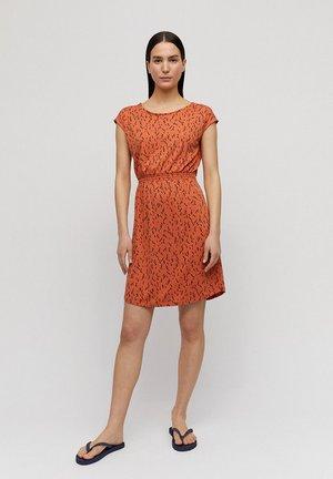 Jersey dress - orange/black
