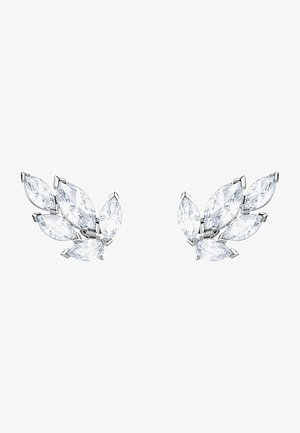 LOUISON STUD PIERCED EARRINGS, WHITE, RHODIUM PLATED - Oorbellen - silber