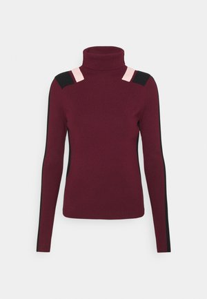 STRIPE DETAIL TURTLENECK JUMPER - Jumper - wine