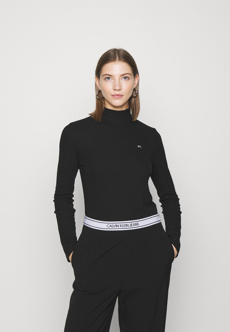 Tommy Jeans - MOCK NECK LONGSLEEVE - Long sleeved top - black