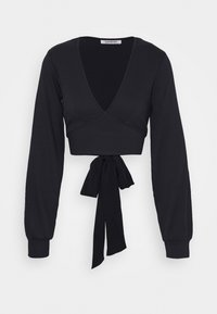Glamorous - PLUNGE TIE WAIST LONG SLEEVE CROP - T-shirt à manches longues - navy - 0