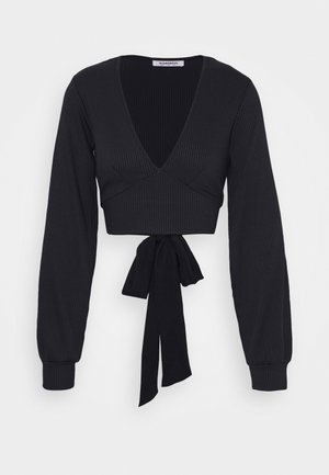 PLUNGE TIE WAIST LONG SLEEVE CROP - Long sleeved top - navy
