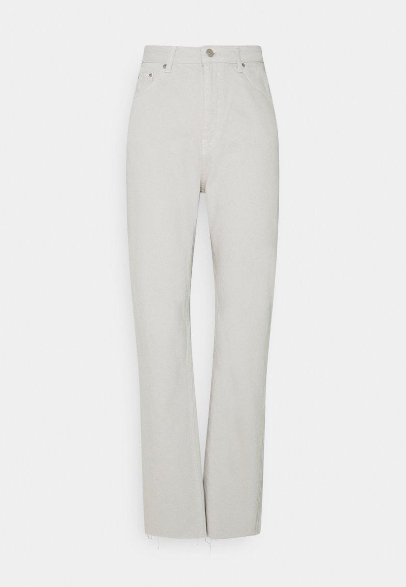 NA-KD Tall - HIGH WAIST RAW HEM - Jeans relaxed fit - light grey