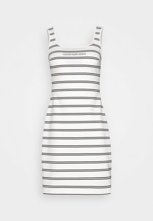 STRIPE MILANO DRESS - Jersey dress - creamy white/black