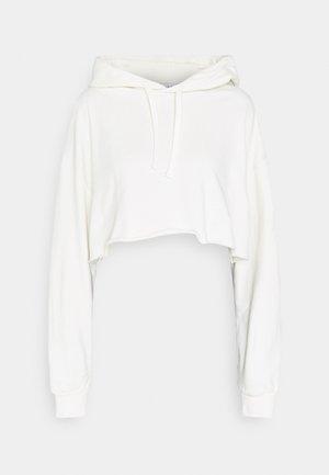 RAW HEM CROPPED HOODIE - Sweatshirt - beige