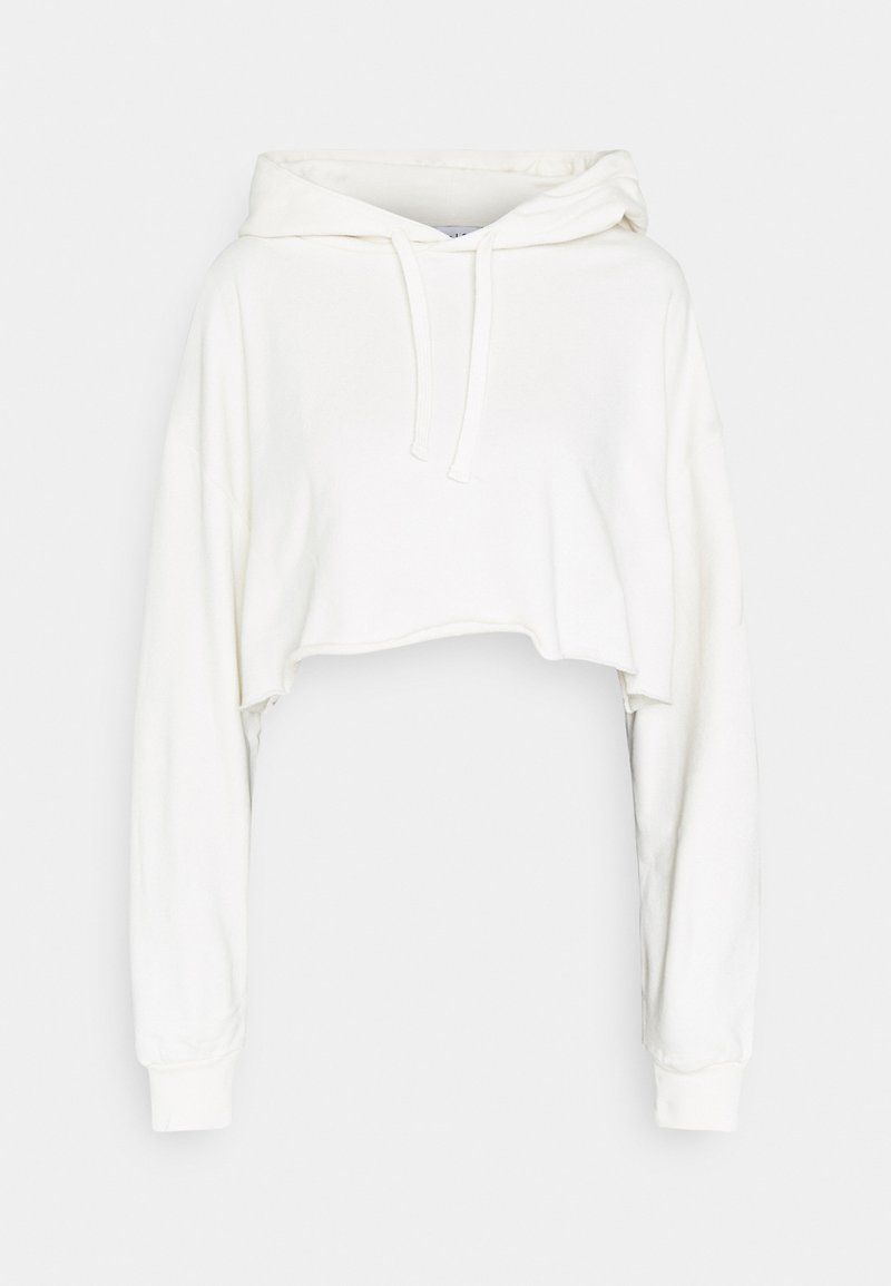NU-IN - RAW HEM CROPPED HOODIE - Sweatshirt - beige