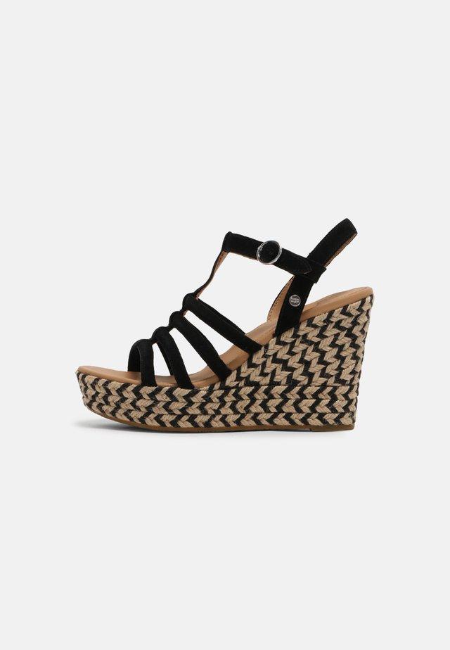 CRESSIDA - Wedge sandals - black