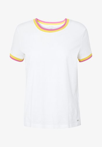 TEE WITH CONTRAST NECK - Print T-shirt - off white