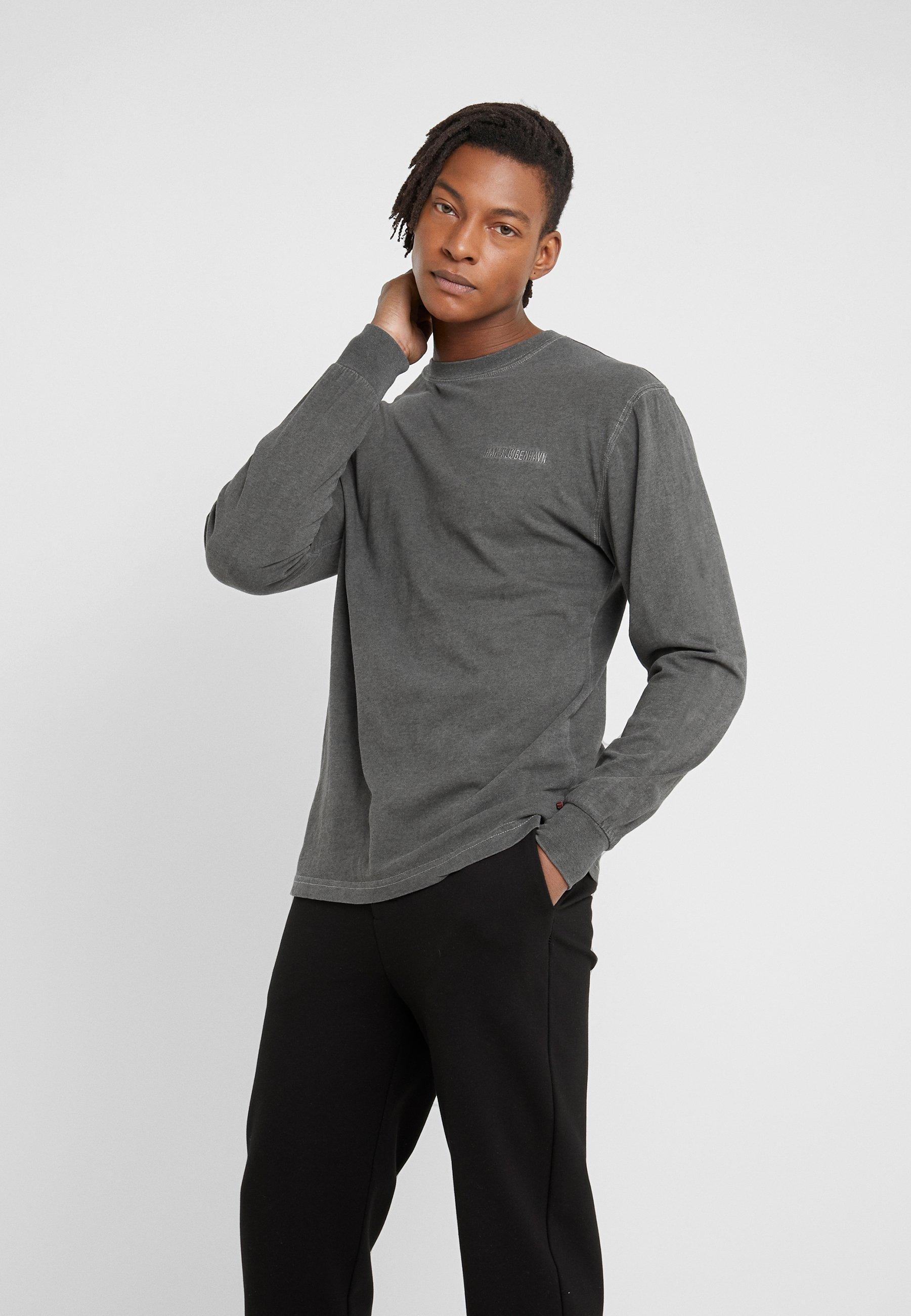 Men CASUAL TEE LONG SLEEVE - Long sleeved top - dark grey