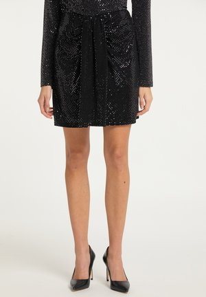 Mini skirt - silber schwarz