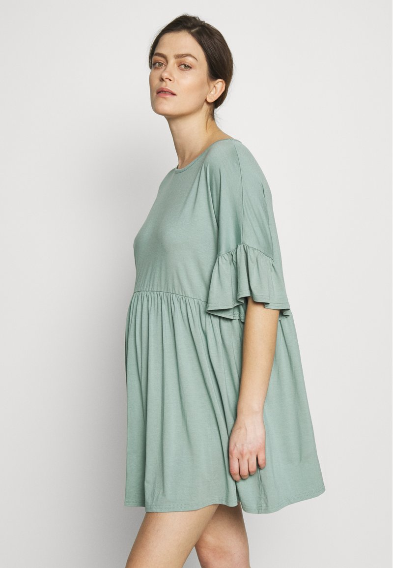 Missguided Maternity - MATERNITY FRILL SLEEVE SMOCK DRESS - Jersey dress - sage