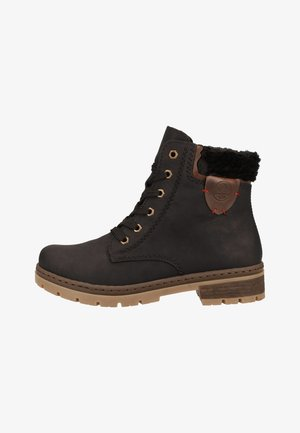 Lace-up ankle boots - black/chestnut