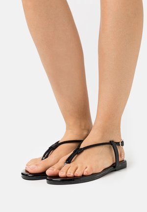 T-bar sandals - mirror black