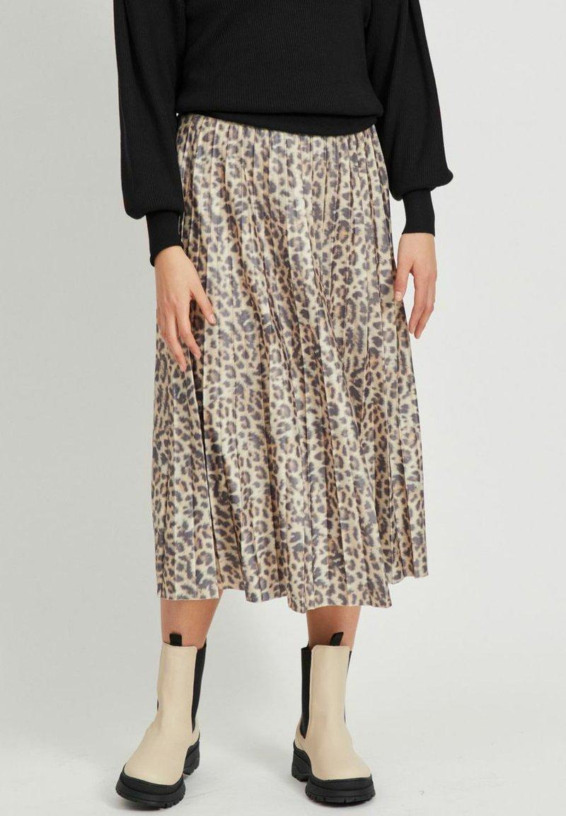 Vila - Pleated skirt - motld beige