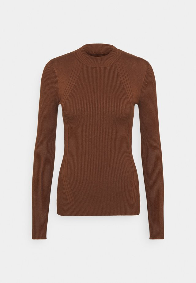 MIXED RIB JUMPER - Jumper - brown
