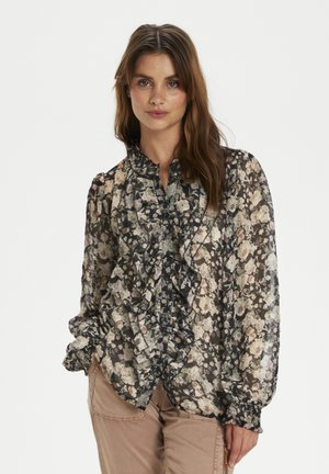 Button-down blouse - Black Flower Mix