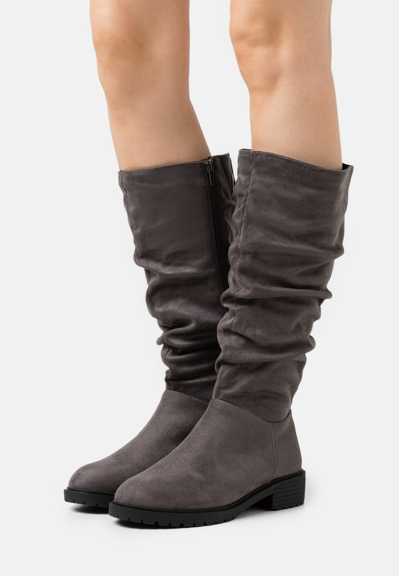 New Look Wide Fit - WIDE FIT CLOUD SLOUCH KNEE HIGH  - Vysoká obuv - mid grey