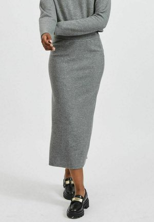 VILANO MIDI SLIT KNIT - Pencil skirt - medium grey melange
