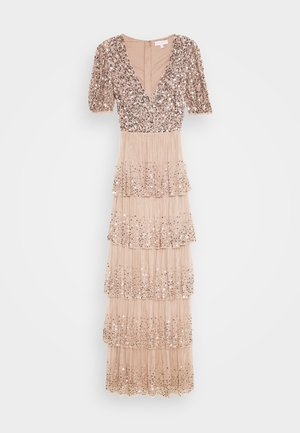 WRAP FRONT PUFF SLEEVE TIERED MAXI DRESS - Abito da sera - taupe blush