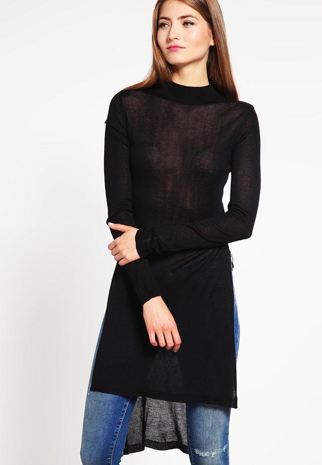 LADIES FINE KNIT TURTLENECK LONG SHIRT - Jersey de punto - black