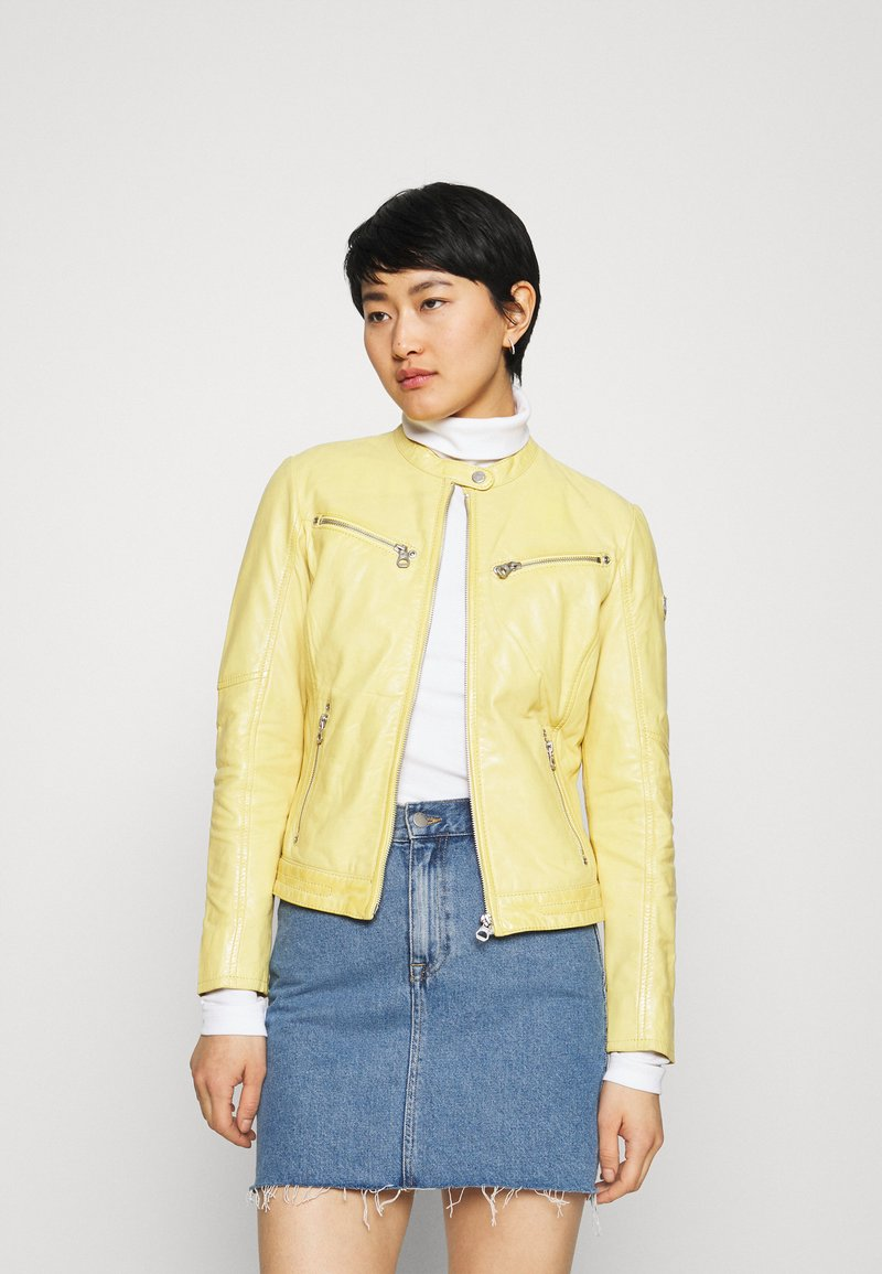 Gipsy - CHARLEE LAORV - Kožená bunda - pastel yellow