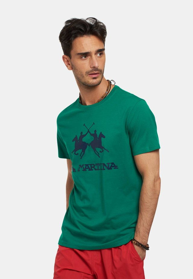 RUTGER - T-shirt con stampa - dark green