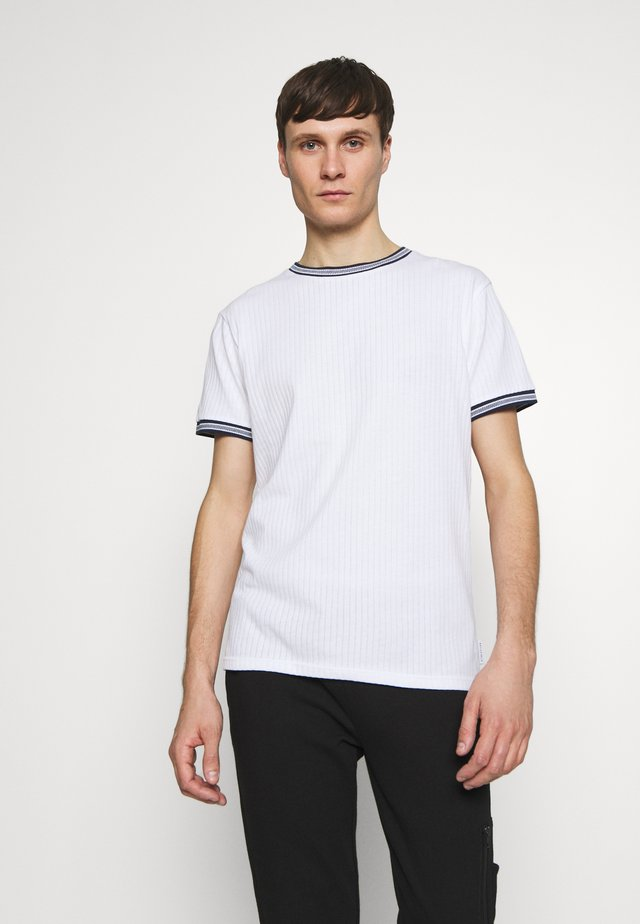 TIPPED CREW NECK TEE - T-shirt - bas - white