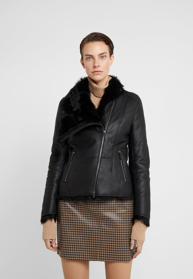 SHORT JACKET - Veste en cuir - toscana black