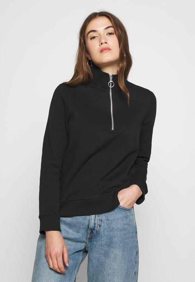 HIGH NECK HALF ZIP SWEATSHIRT - Sweatshirt - black