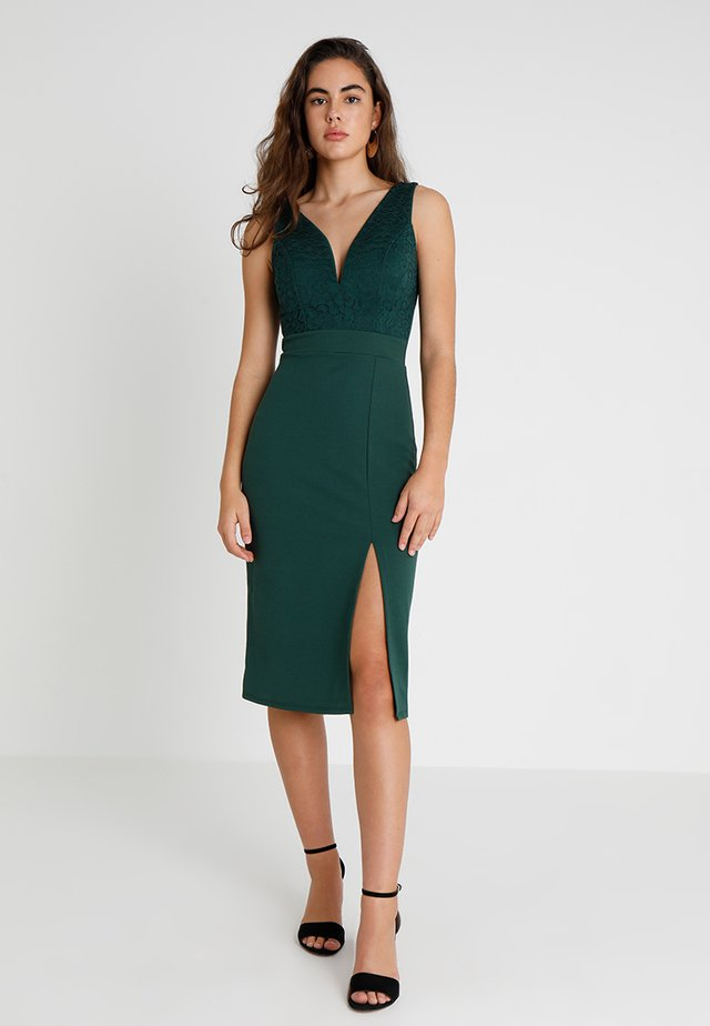 V NECK MIDI - Etui-jurk - green