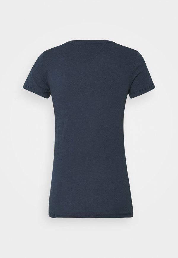 Tommy Jeans ESSENTIAL LOGO TEE - T-shirt z nadrukiem - twilight navy Nadruk Odzież Damska UVOA IX 9