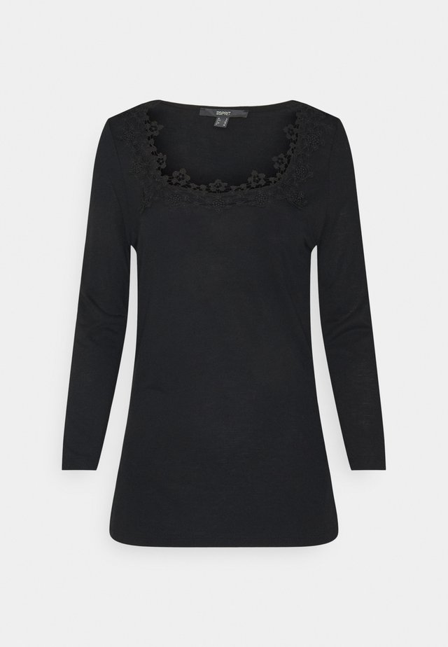ECOVERO LACETEE - Long sleeved top - black