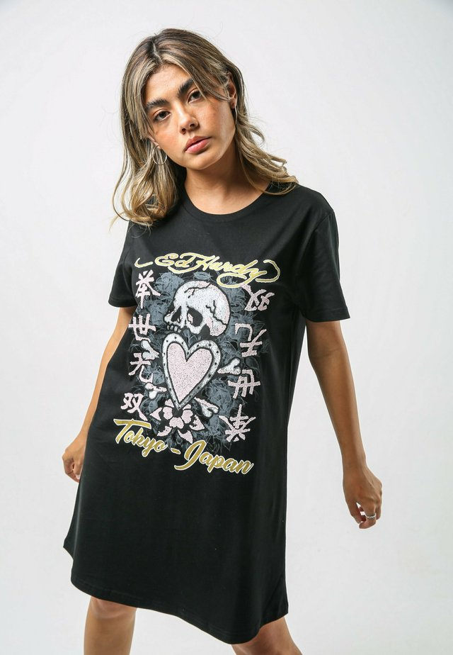 SKULL-PINK T-SHIRT DRESS - Jerseyjurk - black