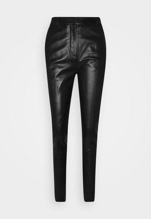 DRAINPIPE TROUSER - Leather trousers - black