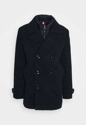 PADDED PEACOAT - Villakangastakki - blue