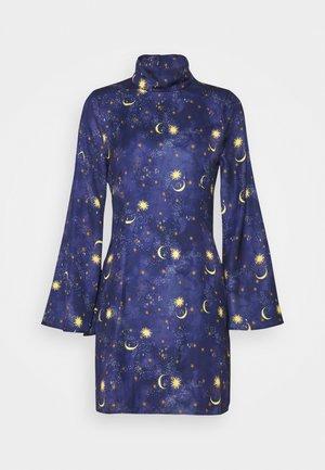 HIGH NECK MINI MOON AND STARS DRESS - Shift dress - navy/multi