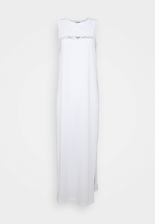 LONG TANK DRESS - Strandaccessoire - white/silver logo