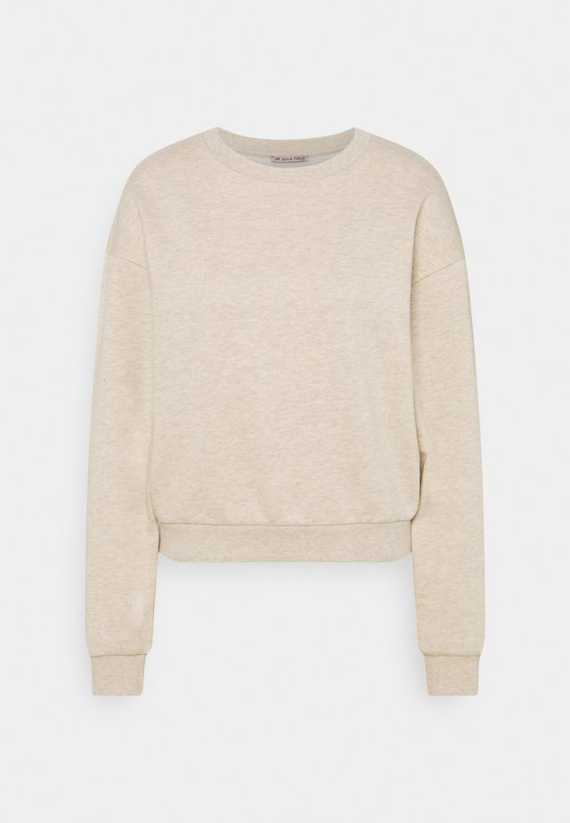 Basic crew neck with rib - Sweater - mottled beige