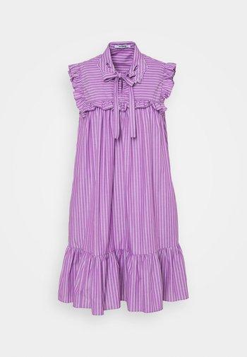 DRESS - Day dress - rigato viola/bianco