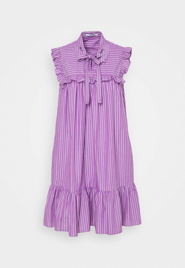 DRESS - Korte jurk - rigato viola/bianco