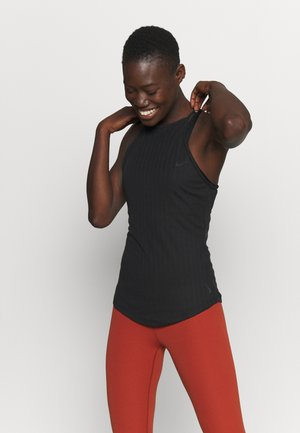 POINTELLE TANK - Sports shirt - black/dark smoke grey