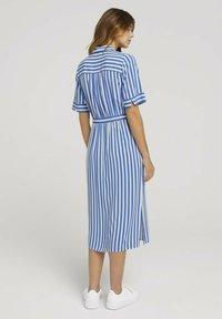 TOM TAILOR DENIM - Shirt dress - mid blue white stripe - 2