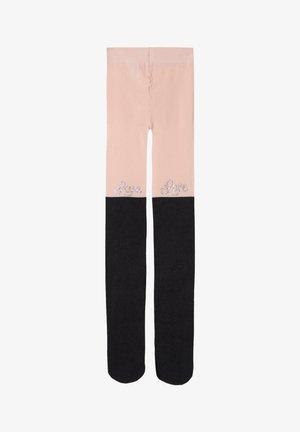 Tights -  pink longuette love appliqué