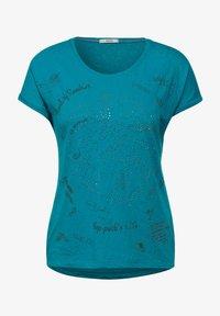 Cecil - MIT BURNOUT-OPTIK - Print T-shirt - blue - 3
