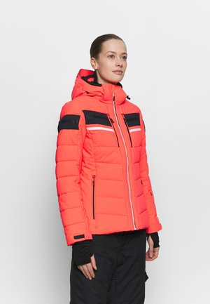 WOMAN JACKET ZIP HOOD - Ski jacket - red fluo