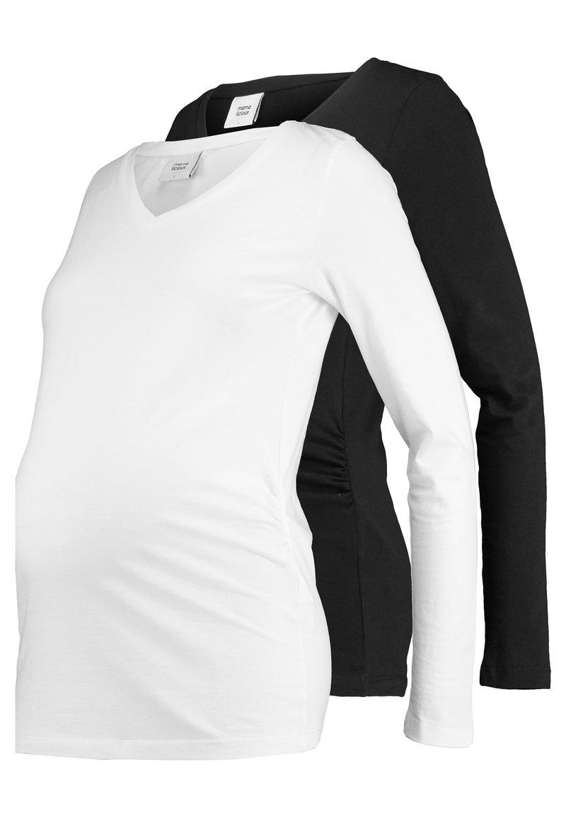 MAMALICIOUS - MLANNIA 2 PACK  - Camiseta de manga larga - black/snow white
