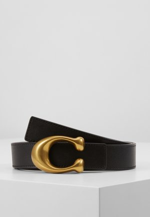 SCULPTED REVERSIBLE BELT - Pasek - black/saddle