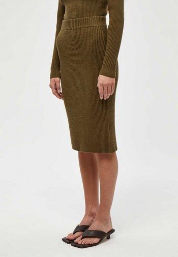 Pencil skirt - dark olive melange